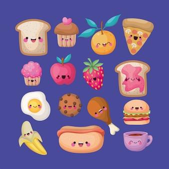 Conjuntos de todos os tipos de ícones de alimentos kawaii em um fundo azul.