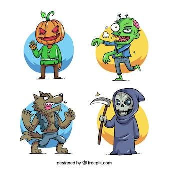 Conjuntos de trajes desenhados a mão no halloween