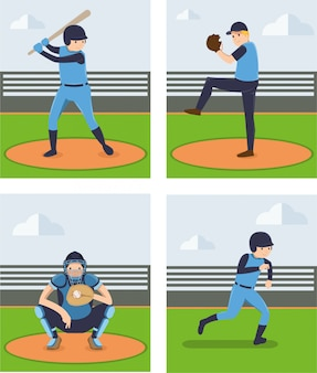 Conjuntos de vetor de jogador de beisebol