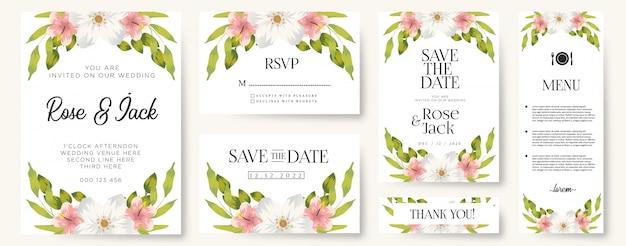 Conjuntos de vetores de cartão de convite de casamento floral