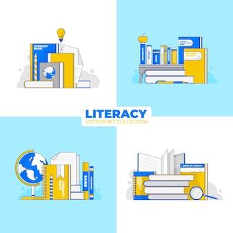 Conjuntos de vetores do dia internacional da alfabetização para cartaz, banner, cartão postal ou mídia social