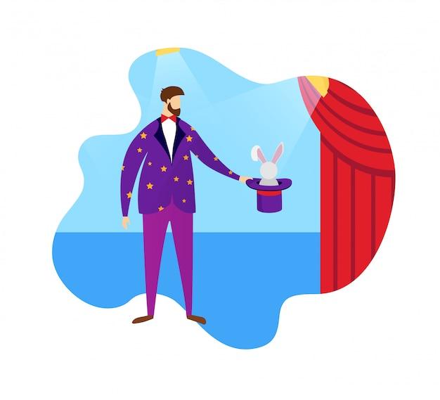 Conjurer que mostra o chapéu alto e o coelho do truque mágico.