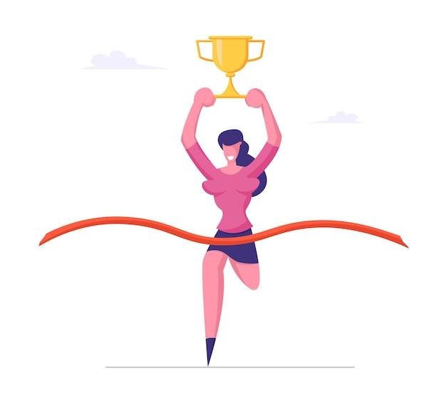 Conquista de meta de carreira, conceito de sucesso financeiro e comercial, empresária run