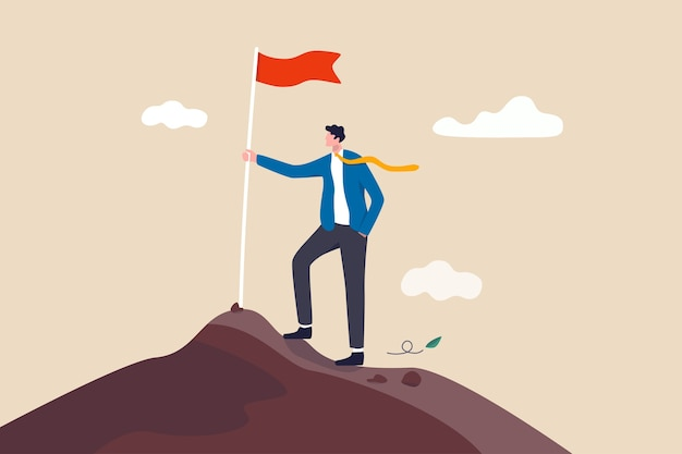 Conquista de meta de negócios, desenvolvimento ou motivação de carreira