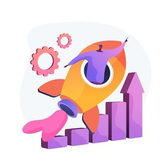 Conquista de sucesso. aspiração de carreira, promoção de emprego, crescimento pessoal. trabalhador motivado, empresário voando no foguete, motivação e determinação.