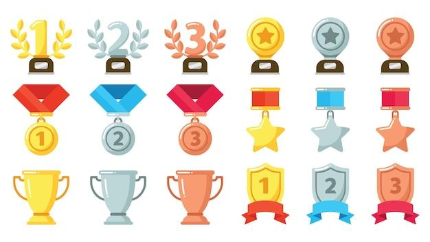 Conquistas ou prêmios de ouro, prata, bronze