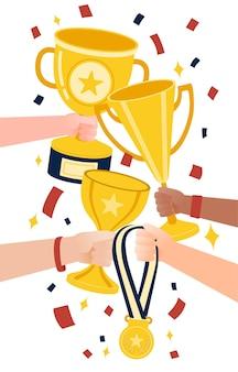 Conquiste a conquista. feliz atribuição de muitos troféus para todos eles.