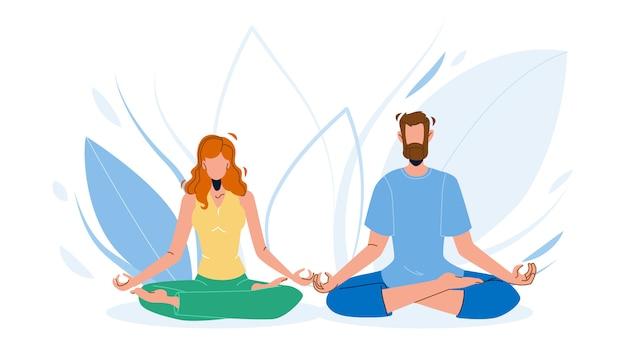 Consciência mente meditando homem e mulher