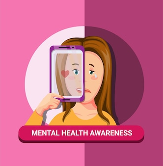 Conscientização de doenças de saúde mental com conceito de smartphone na ilustração dos desenhos animados