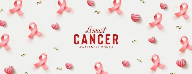 Conscientização do câncer de mama com balões e fitas 3d