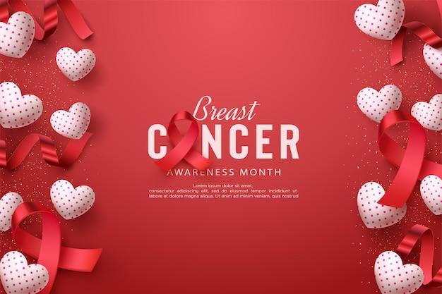 Conscientização do câncer de mama com balões e fitas brilhantes