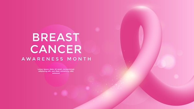 Conscientização do câncer de mama com fita 3d rosa. ilustração vetorial
