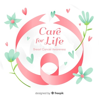 Conscientização do câncer de mama com fita mão desenhada