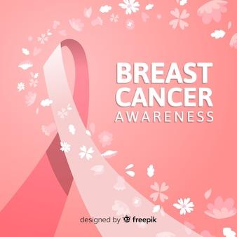 Conscientização do câncer de mama com fita rosa mão desenhada