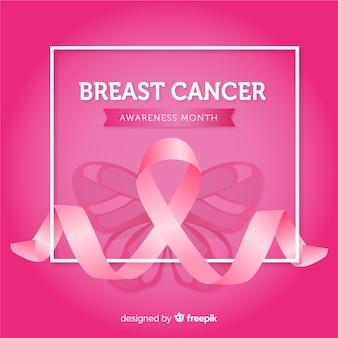 Conscientização do câncer de mama com fitas cor de rosa