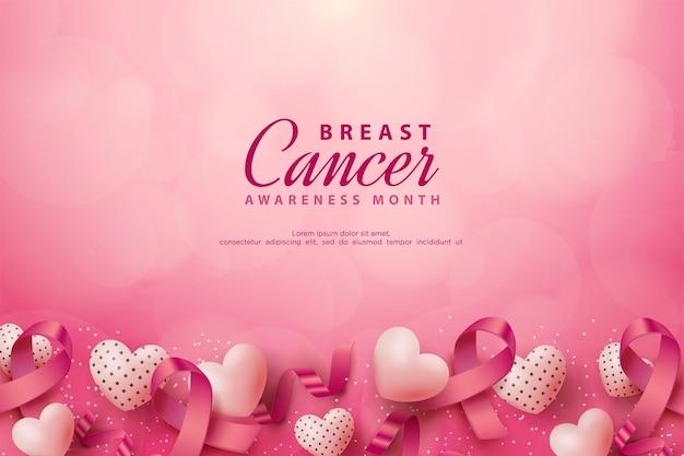 Conscientização do câncer de mama com fitas e balões de amor realistas