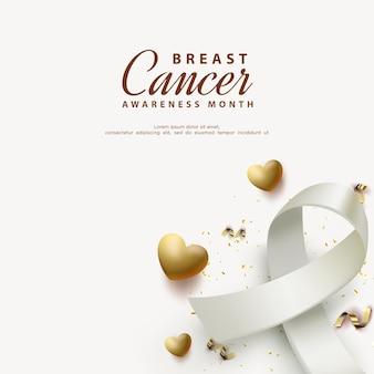 Conscientização do câncer de mama com fitas e balões dourados