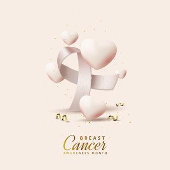 Conscientização do câncer de mama com fitas e balões realistas