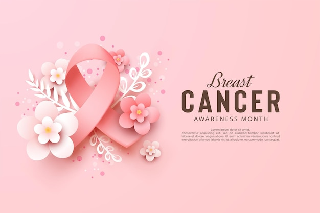 Conscientização do câncer de mama com fitas e flores
