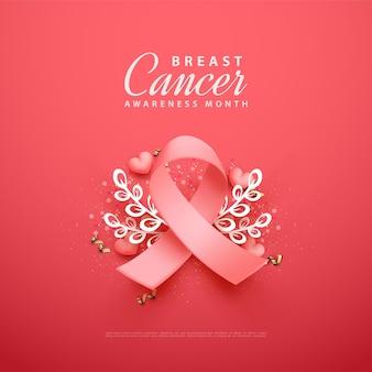 Conscientização do câncer de mama com ilustração 3d da fita