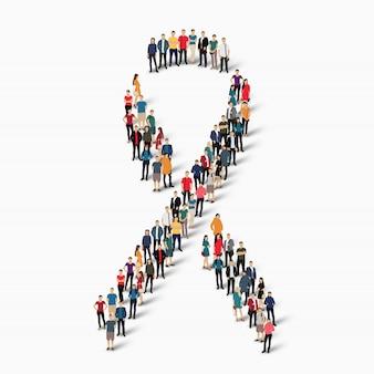 Conscientização do câncer de mama de peopleribbon