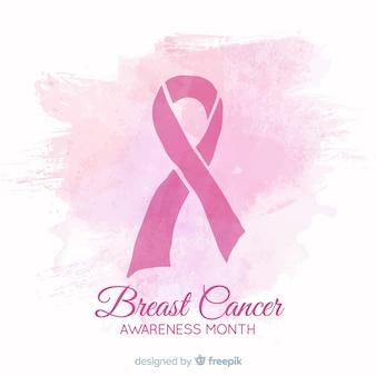 Conscientização do câncer de mama design aquarela com fita
