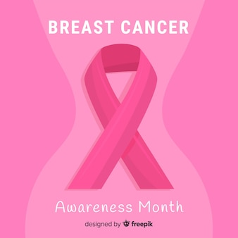 Conscientização do câncer de mama design plano com fita