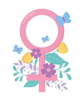 Conscientização do câncer de mama, gênero feminino, flores, borboleta, vetorial, desenho e ilustração