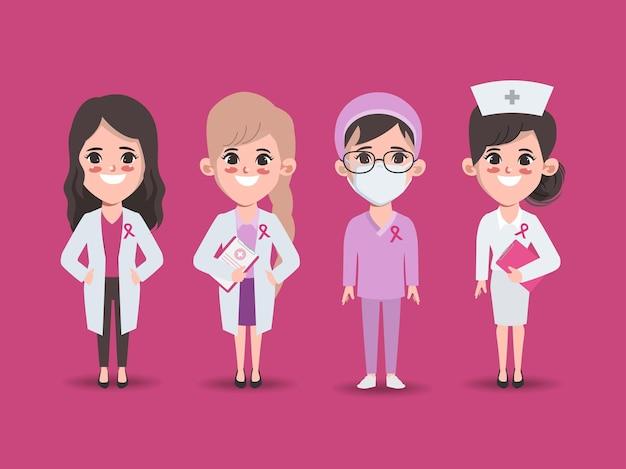 Conscientização do câncer de mama mulher personagem médico tratamento