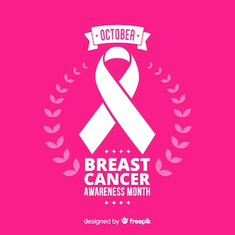 Conscientização do câncer de mama plana com fita