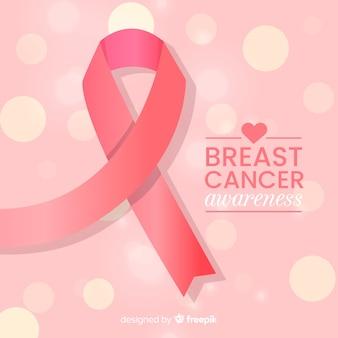 Conscientização do câncer de mama plana com luzes abstratas