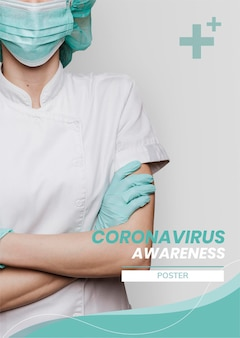 Conscientização do coronavírus para apoiar o vetor de modelo de profissionais médicos