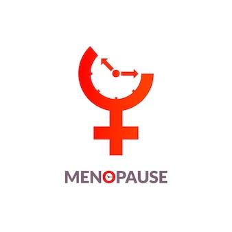 Conscientização do ícone da menopausa. período menstrual do relógio da idade da fertilidade da mulher.