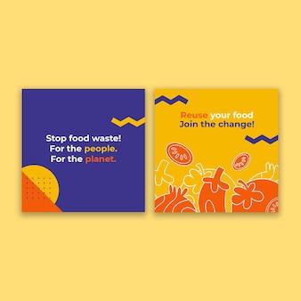 Conscientização moderna sobre perda de alimentos e redução de resíduos no instagram post