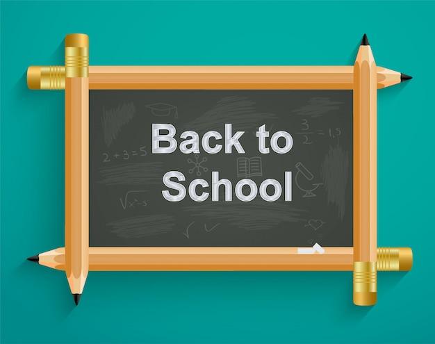 Conselho escolar com lápis, de volta à escola