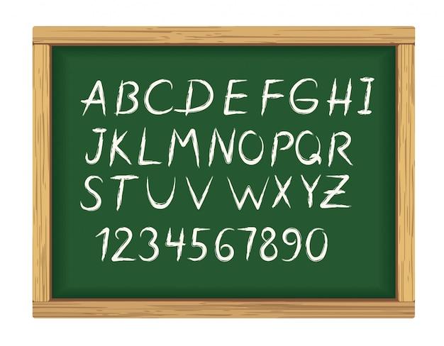 Conselho escolar com letras do alfabeto de giz
