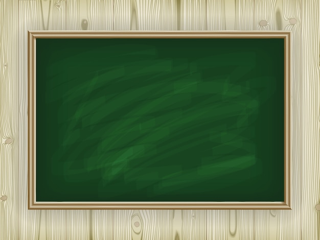 Conselho escolar verde sobre um fundo de madeira