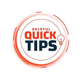 Conselhos de dicas rápidas com fundo de lâmpada