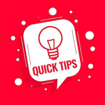 Conselhos de dicas rápidas com lâmpada em fundo vermelho