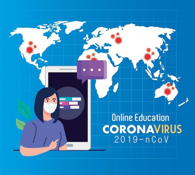 Conselhos de educação on-line para impedir que o coronavírus covid-19 se espalhe, aprendendo on-line, aluna com projeto de ilustração vetorial de smartphone