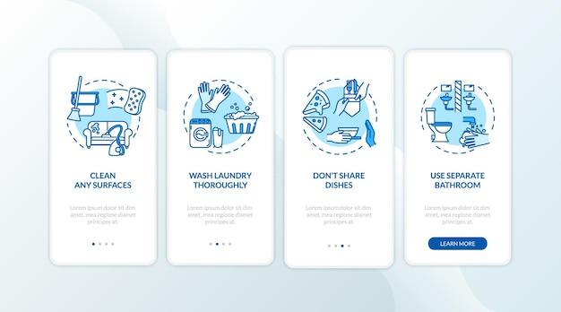 Conselhos domésticos na tela da página do aplicativo móvel com conceitos. limpeza de superfícies, lavagem completa passo a passo de instruções gráficas de 4 etapas. modelo de vetor de interface do usuário com ilustrações coloridas rgb