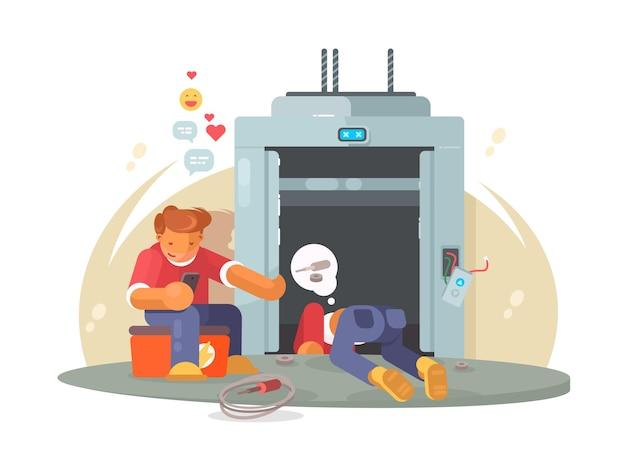 Conserte o elevador. homens de trabalhadores consertando elevador de passageiros quebrado. ilustração plana