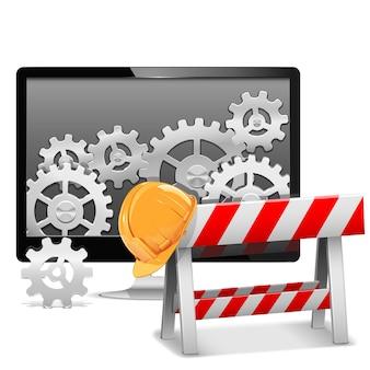 Conserto de computador com barreira