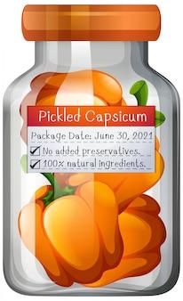 Conserva de capsicum em frasco de vidro