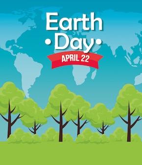Conservação de árvores para a celebração do dia da terra