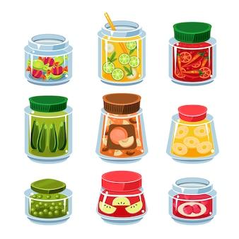 Conservas de frutas e legumes em latas