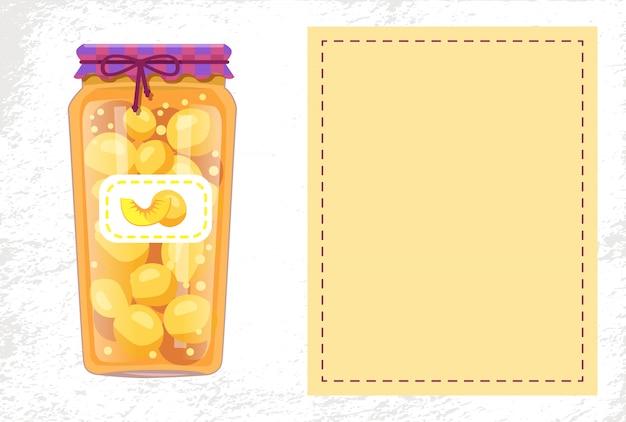 Conservas de pêssegos em frasco com moldura em branco