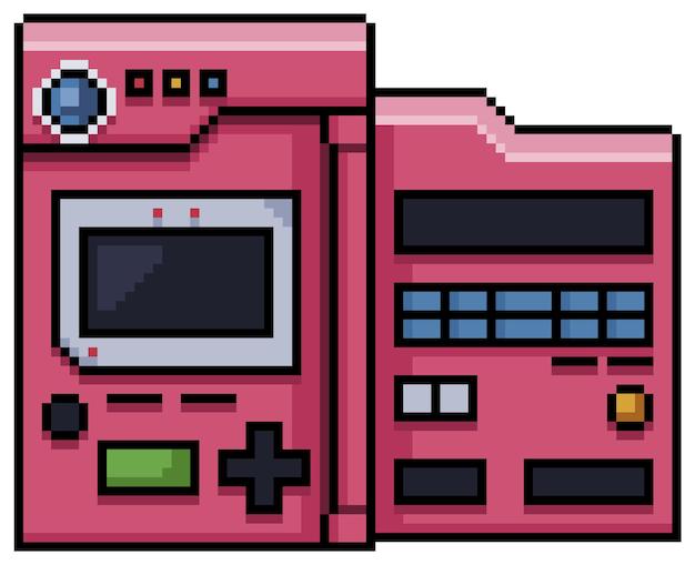 Console de bits de videogame pixel art isolado no branco