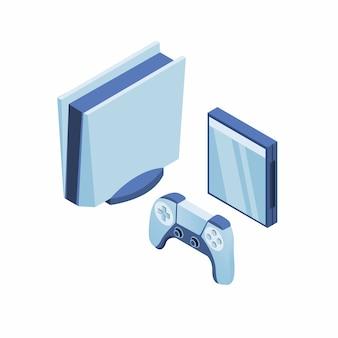 Console de jogos moderno com joypad e conceito de caixa de cd em ilustração isométrica
