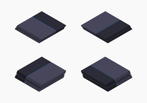 Console de jogos preto isométrico nextgen